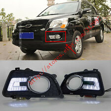2x White LED DRL Daytime Day Fog Lights Run lamps For Kia Sportage 2009-2012
