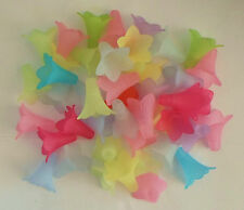 500 x 23mm Acrylic Lucite Frosted Trumpets Flower Beads Wholesale Mixed - 500g