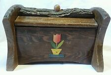 Vintage Wooden Sewing Box with Bark Hand Carved, Double Hinged Lids Crafts Case