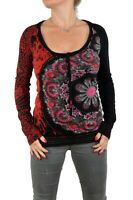 Desigual Women's Black Red Roses Flower long Sleeved Top SHIRT Vest XS Super