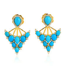Natural Pave Diamond Turquoise Ear Jacket 18K Solid Yellow Gold Fashion Jewelry
