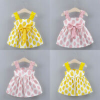 Toddler Baby Girls Kids Strap Bow Dot Print Summer Dress Princess Party Dresses
