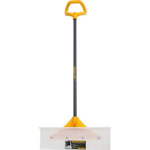 Snow Pusher w Versa Grip Plow Shape Blade Industrial Grade Steel Handle 24 in.
