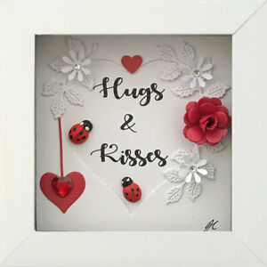 Handmade Hugs & Kisses Framed Picture Gifts Ladybirds Hearts Flowers Diamante