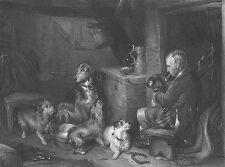 NICE TERRIER DOGS IN RICH HOUSE ~ 1849 Edwin LANDEER Art Print Engraving RARE