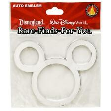 Disney Park Mickey Mouse Ears Icon Silver/Chrome Auto Emblem Decal Sticker (NEW)