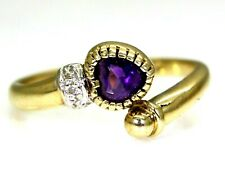 9ct Yellow Gold Amethyst Heart & Diamond Open Torque ring size M ~ 6 1/4