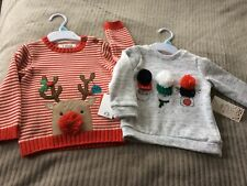 2 X Boys 6-9 Months Cosy Christmas Jumpers 1 Knitted 1 Sweatshirt New Fun Gift