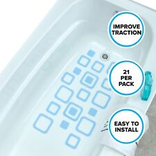 Adhesive Square Bath Treads (21 Per Pack) in Blue by SlipX Solutions