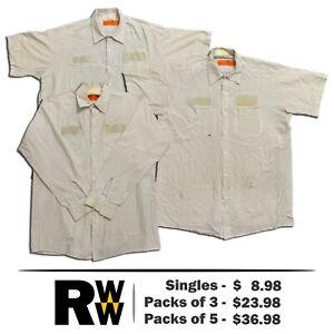 Red Kap Work Shirts 2 Pocket White Striped Short & Long Sleeve Men's Uniform