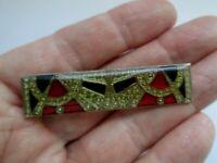 Vintage Pierre Bex Style Red Jet Geometric Enamel Art Deco Bar  Brooch Pin