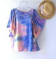 New~Sky Blue Lavender Peach Sunrise Peasant Blouse Spring Boho Plus Size Top~3X
