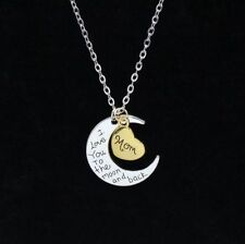 Gift For Mom Moon Heart Necklace Pendants I Love You To The Moon and Back 1Pc