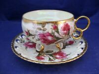 ANTIQUE 3 FOOTED TEA CUP AND RETICULATED SAUCER - ROYAL SEALY - JAPAN - ROSES