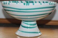 Gmundner Keramik Schüsserl auf Sockel, grün geflammt, gebraucht
