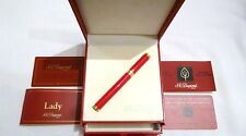 S. T. DUPONT LADY MASCARA RED CHINESE LACQUER FOUNTAIN PEN 18K M GOLD NIB - MINT