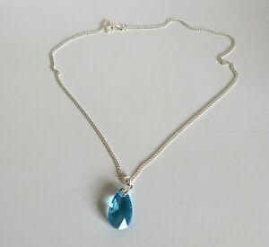 Solid Sterling 925 Necklace. With Swarovski 6106 Aquamarine Pendant