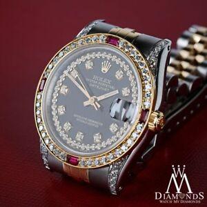 Unisex Rolex SS & Gold 36mm Datejust Glossy Black String Dial Ruby Diamond Watch