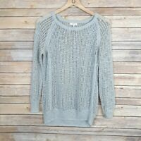 Joie Womens Sweater Open Knit Long Sleeve Crew Neck Gray Size Small