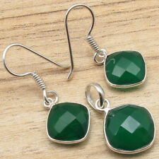 Present Set ! Silver Plated Jewelry Green Onyx Gem Earrings & Pendant Matching