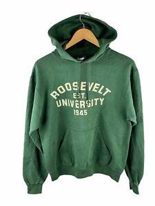 VINTAGE Champion Hoodie Jumper Mens Size S Green Fleece Roosevelt University USA