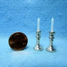 Dollhouse Miniature Silver Candle Sticks with Candles ~ IM65585