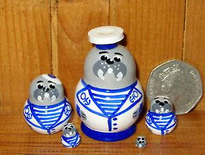 Nesting Russian Doll Matryoshka Tiny 5 Walrus Sailor Miniature House
