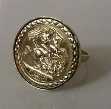 "NEW 9ct Yellow Gold St George and The Dragon Replica Coin Ring UK size ""U"" 6g"
