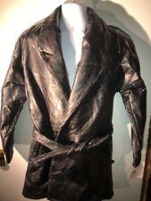 Maxam Brand Lambskin Leather Coat Women's Mosaic Black Size L