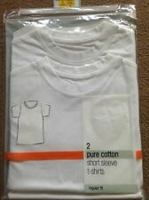 BNWT M&S 2 Pack Pure Cotton Plain White Short Sleeved T-Shirts 3 Years 98cm