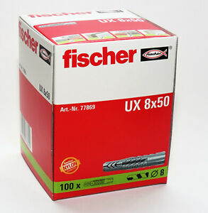 Fischer Wall Plugs UX8 Pack of 100   (8mm x 50mm)