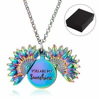 You are My Sunshine Sunflower Locket Memorial Engraved Pendant Necklace Hot Gift