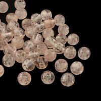 100pcs Handmade Luminous Lampwork Beads Round DarkSalmon Bubble Jewelry 8mm