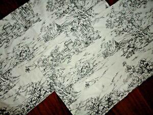 IKEA STJARNRAMS BLACK & WHITE TOILE (PAIR) KING PILLOW SHAMS 20 X 35