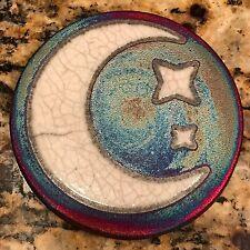 Crescent Moon Coaster Raku Pottery, handmade, handsigned - NEW