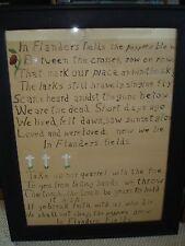 Framed primitive hand written flanders fields poem WWII 1930's white crucifix