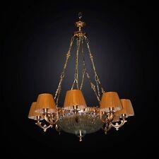 LAMPADARIO CLASSICO IN OTTONE E CRISTALLO 12 LUCI BGA 2824/12