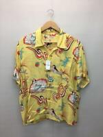 SUN SURF Hawaiian Aloha Shirt SS38031 Yellow Rayon Size L Used From Japan