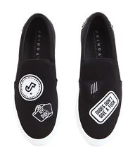 Joshua Sanders Men's Shoes Black Jersey Logo Patch Slip On Size 39 Made in Italy