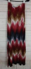 Wet Seal Womens Red & Brown Tones Size XS Tie-dyed Rayon Blend Long Skirt  j131