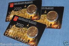"""50 Cent Coincard Kursmünze 2010 Vatikan """" Papst Benedikt XVI """" Die Erste """"RAR!"""