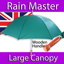 UMBRELLA MENS LADIES GREEN LARGE CANOPY BEECH FINISH HANDLE GOLF