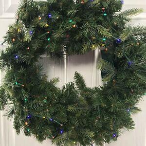 Bethlehem Lights Shenandoah 26″ Overlit Wreath w/Colorful & Clear Lights 2 in 1