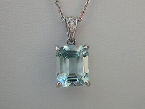 Aquamarine & Diamond Pendant. 3.00ct Octagon-cut Aqua. 18ct White Gold. 10 x 8mm