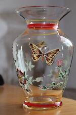 Antike Jugendstil Vase Emaille Malerei Schmetterling Blumen Blumenvase