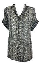 AUTOGRAPH Blouse - Snakeskin Print Black Beige Chiffon Short Sleeve Button - 26