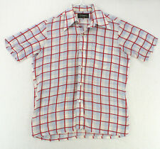 BRUNSWICK Vtg 70s 80s White Red Blue Plaid S/S Btn Shirt Men's M Medium 15 15.5