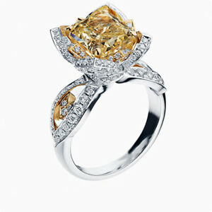 Fashion Women Jewelry 925 Silver Ring Citrine Wedding Engagement Gifts Size 9