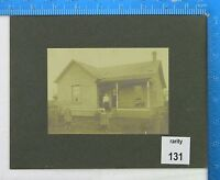 "Original 5.5x4"" Antique Sepia Gelatin Silver Photograph Home Children Porch Yard"