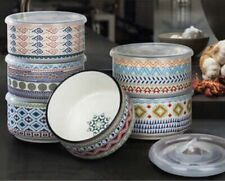 New listing Signature Aztec Designs 6 Pc Stoneware Storage Bowls With Lids (Microwavable) (b